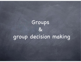 Groups & group decision making