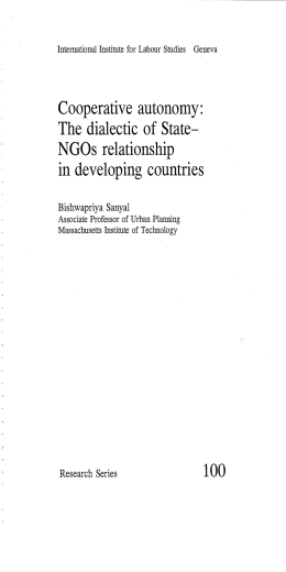 Cooperative autonomy: NGOs relationship in developing countries The dialectic of State—