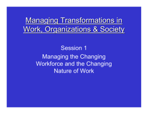 Managing Transformations in Work, Organizations & Society Session 1 Managing the Changing