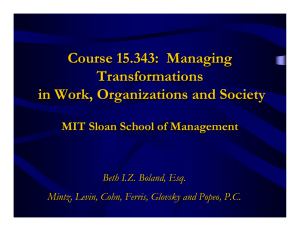 Course 15.343: Managing Transformations in Work, Organizations and Society