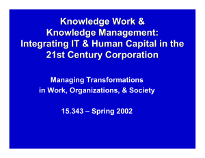 Knowledge Work & Knowledge Management: Integrating IT & Human Capital in the