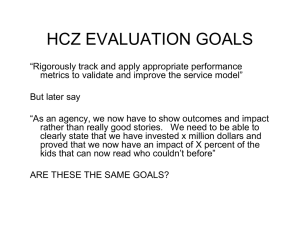 HCZ EVALUATION GOALS