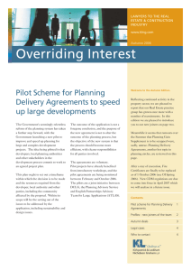 Overriding Interest Pilot Scheme for Planning Delivery Agreements to speed