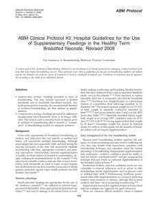 ABM Clinical Protocol #3: Hospital Guidelines for the Use