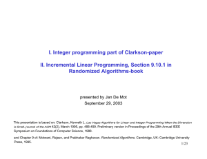 I. Integer programming part of Clarkson-paper Randomized Algorithms-book