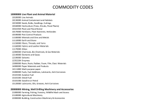 COMMODITY CODES 10000000 Live Plant and Animal Material