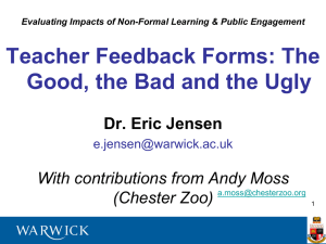 Teacher Feedback Forms: The Good, the Bad and the Ugly