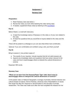 Assignment 1 Haraway Case  Preparation:
