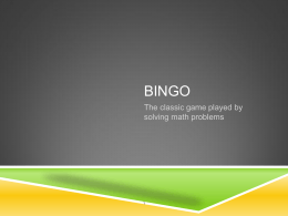 BINGO The classic game played by solving math problems 1