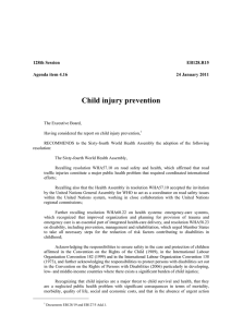 Child injury prevention  128th Session EB128.R15