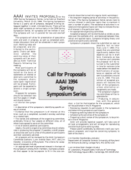 AAAI INVITES PROPOSALS