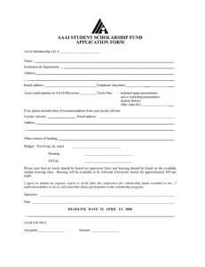 AAAI STUDENT SCHOLARSHIP FUND APPLICATION FORM