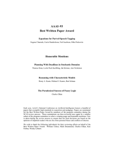 AAAI–93 Best Written Paper Award Honorable Mentions Equations for Part-of-Speech Tagging