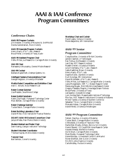 AAAI & IAAI Conference Program Committees Conference Chairs AAAI-99 Senior