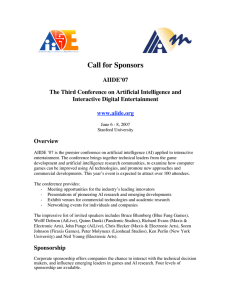 Call for Sponsors AIIDE'07 The Third Conference on Artificial Intelligence and