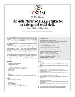 I C WSM The Sixth International AAAI Conference on Weblogs and Social Media