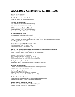 AAAI 2012 Conference Committees    Chairs and Cochairs