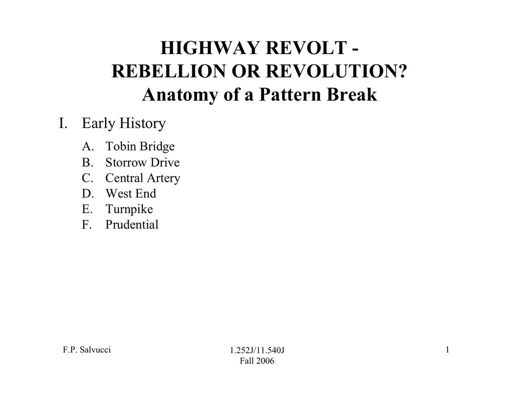 HIGHWAY REVOLT - REBELLION OR REVOLUTION? Anatomy of a Pattern Break