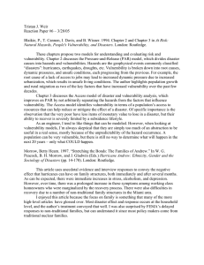 Tristan J. Weir Reaction Paper #6 – 3/28/05 At Risk: