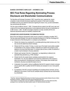 SEC Final Rules Regarding Nominating Process Disclosure and Shareholder Communications