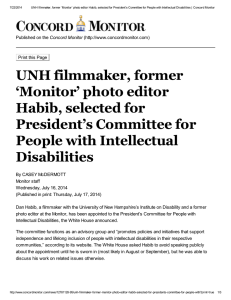 7/22/2014 UNH filmmaker, former 'Monitor' photo editor Habib, selected for President's...
