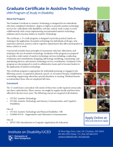 Graduate Certificate in Assistive Technology UNH Program of Study in Disability