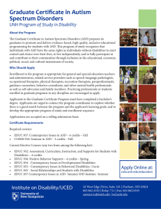 Graduate Certificate in Autism Spectrum Disorders UNH Program of Study in Disability