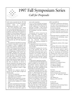 serve on the committee AAAI invites proposals for the 1997 Fall