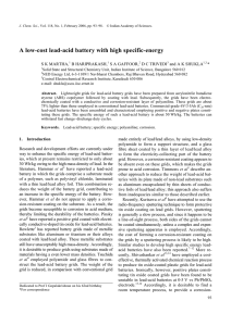 A low-cost lead-acid battery with high specific-energy S K MARTHA, B HARIPRAKASH,