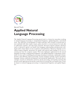 Applied Natural Language Processing Special Track: