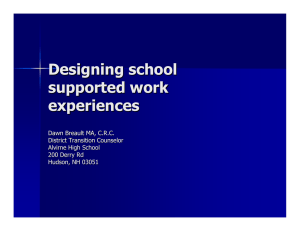 Designing school supported work experiences Dawn Breault MA, C.R.C.
