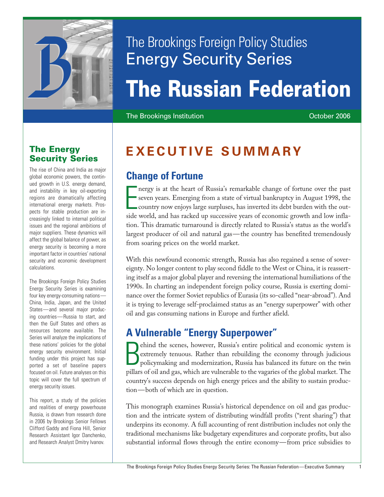 The Russian Federation Energy Security Series The Brookings