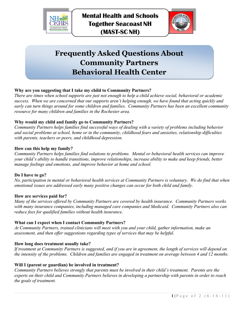 Frequently Asked Questions About Community Partners