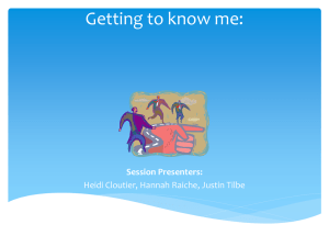 Getting to know me: Session Presenters: Heidi Cloutier, Hannah Raiche, Justin Tilbe
