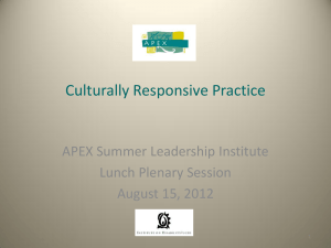 Culturally Responsive Practice APEX Summer Leadership Institute Lunch Plenary Session August 15, 2012