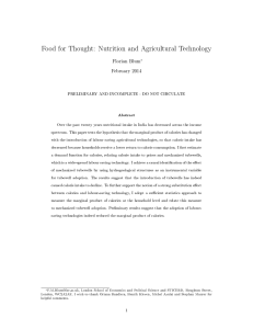 Food for Thought: Nutrition and Agricultural Technology Florian Blum February 2014
