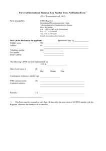 Universal International Premium Rate Number Status Notification Form