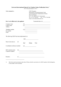Universal International Shared Cost Number Status Notification Form