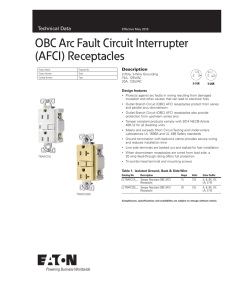 OBC Arc Fault Circuit Interrupter (AFCI) Receptacles Technical Data Description