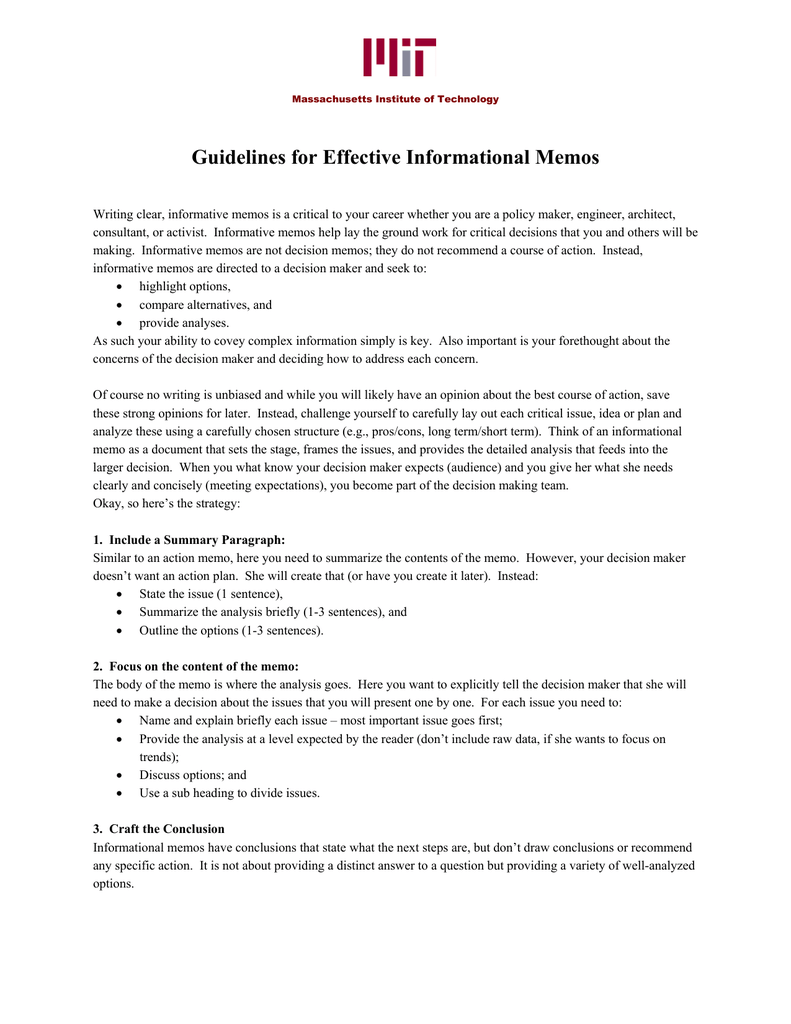 guidelines for effective informational memos