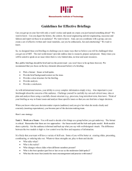 Guidelines for Effective Briefings