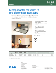 Meter adapter for solar/PV pre-disconnect input taps Metering