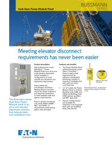Meeting elevator disconnect requirements has never been easier BUSSMANN SERIES
