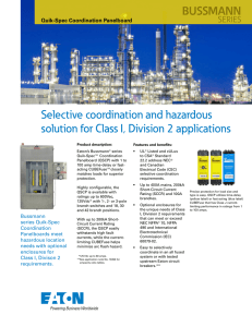 Selective coordination and hazardous solution for Class I, Division 2 applications BUSSMANN SERIES