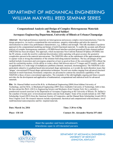 DEPARTMENT OF MECHANICAL ENGINEERING WILLIAM MAXWELL REED SEMINAR SERIES
