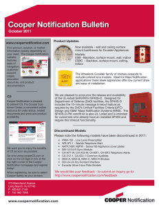 Cooper Notification Bulletin October 2011 Product Updates www.coopernotification.com