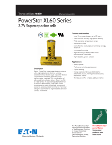 PowerStor XL60 Series 2.7V Supercapacitor cells Pb HF