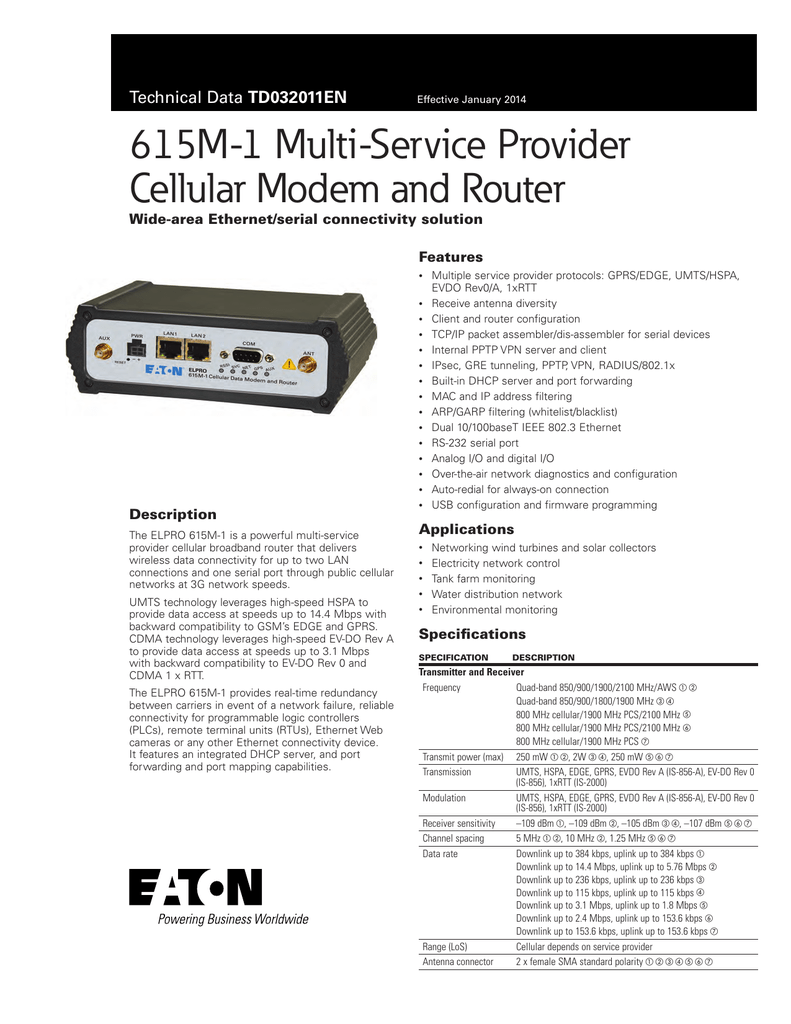 615M-1 Multi-Service Provider Cellular Modem and Router Wide