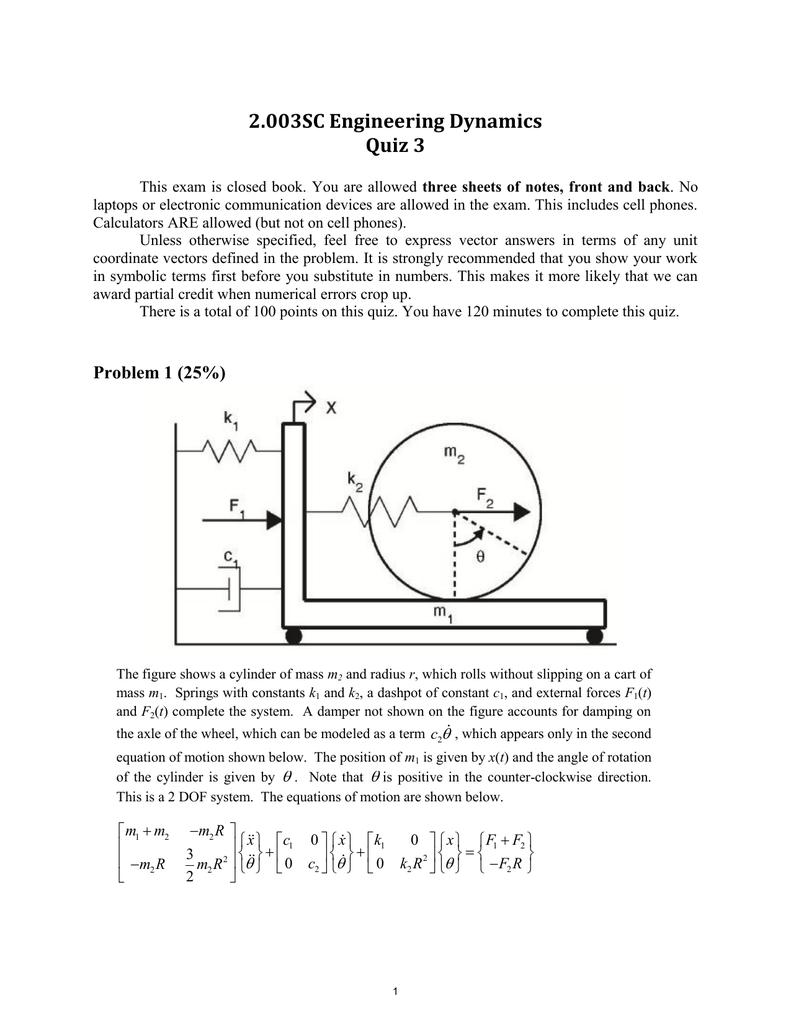 2 003SC Engineering Dynamics Quiz 3
