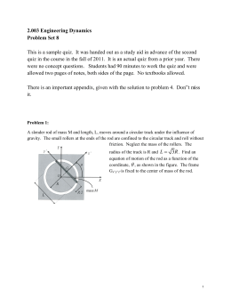2.003 Engineering Dynamics Problem Set 8